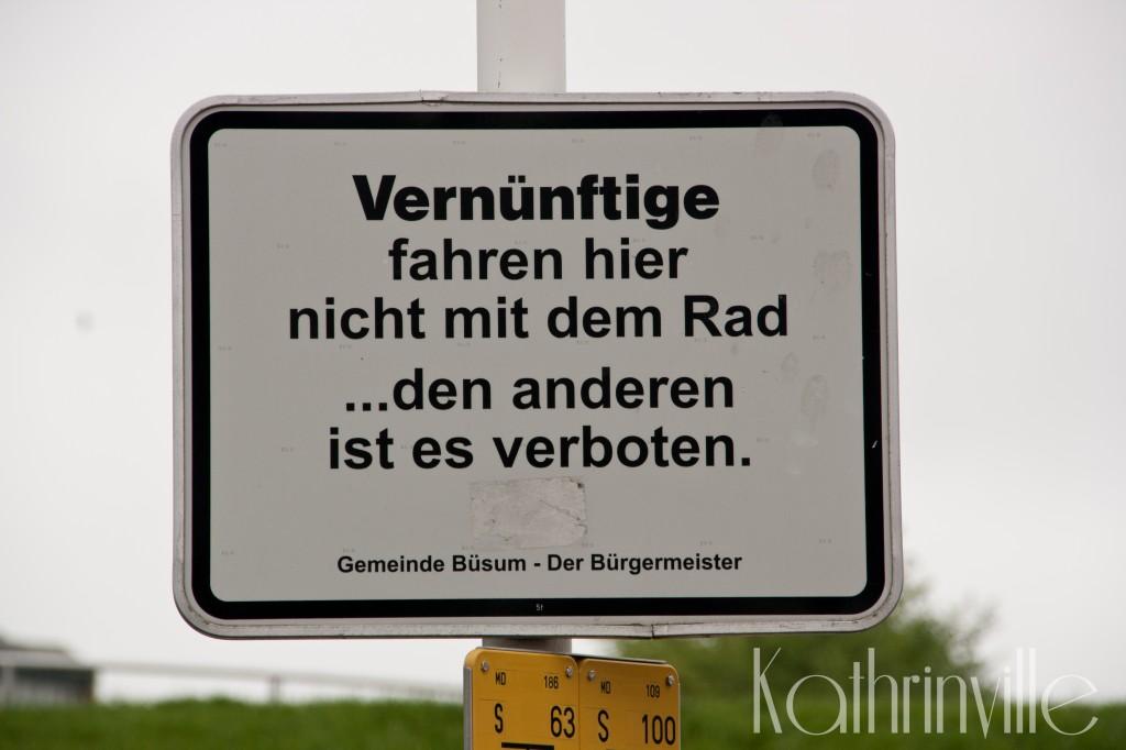 Verkehrsschild: Vernünftige fahren hier nicht mit dem Rad... den anderen ist es verboten. Gemeinde Büsum - Der Bürgermeister.